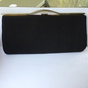 Vintage Raw Silk 50/60s Black Evening Clutch Bag